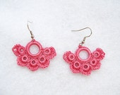 Romantic Hand Crocheted Lace Flower Earrings in Old Rose