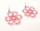 Very Stylish  Tatted  Flower Earrings in Peach/Old Rose