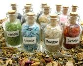 One Mini Gemstone Bottle, Gemstone Chips, Arts & Crafts, Artisan, Feng Shui, Medicine Pouch, Rock Hound