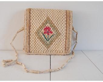 Vintage Woven Floral Straw Bag