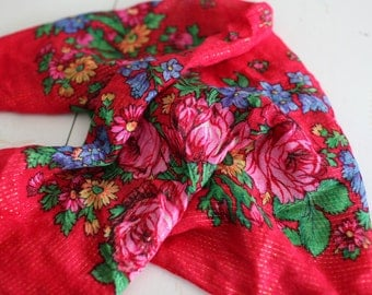 Vintage Red Floral and Metallic Scarf