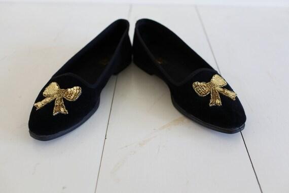 Vintage Black Velvet Gold Bow Slipper Flats Shoes