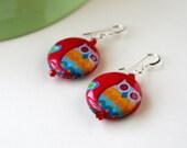 Owl Red Earrings - Decoupage Wood Eco Earrings