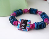 Boho Chic Decoupage Wood Paper Bead Eco Bracelet - Bestfriends BFF
