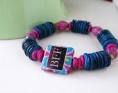 Boho Chic Decoupage Wood Paper Bead Eco Bracelet - Bestfriends BFF
