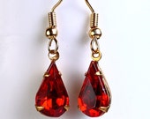 Vintage siam red faceted glass teardrop dangle earrings READY to ship (402) - Flat rate shipping