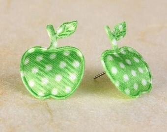 Sale Clearance 20% OFF - Lime green polka dots apple applique satin felt hypoallergenic studs earrings (390)