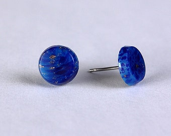 Sale Clearance 20% OFF - Lapis blue and gold hypoallergenic surgical steel stud earrings (280)