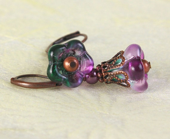Mauve green glass trumpet bell flower and antique copper earrings (417) - Flat rate shipping