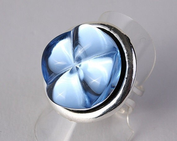 Light blue bumpy adjustable ring READY to ship (224)