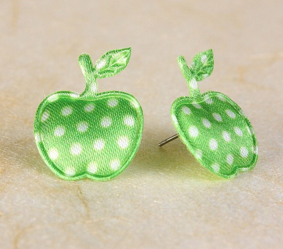 Sale Clearance 20% OFF - Lime green polka dots apple applique satin felt hypoallergenic studs earrings (390)