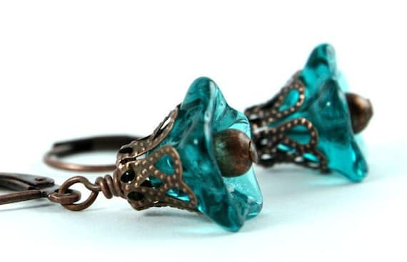 Teal trumpet bell flower and antique copper leverback earrings (138) - Flat rate shipping