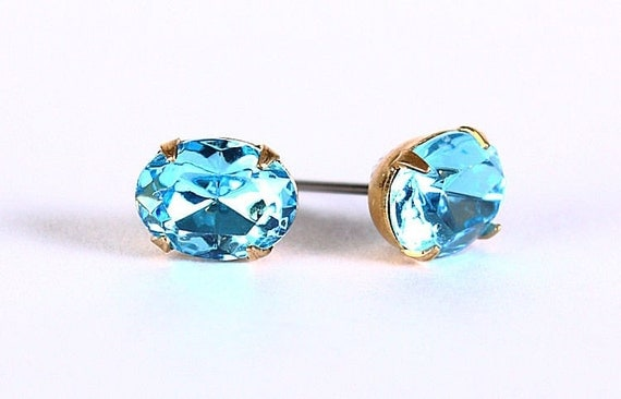 Estate style aquamarine austrian crystal stud earrings READY to ship (312)