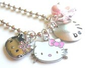 Personalized Necklace - Hello Kitty -  Hand Stamped Charm Necklace  BITTY KITTY