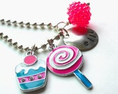 Hand Stamped CUPCAKE and LOLLIPOP  Personalized Charm Necklace for Children