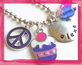 Hand Stamped Necklace Personalized PURPLE CUPCAKE Necklace