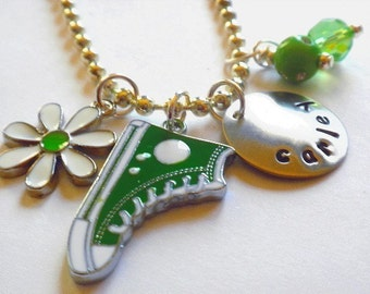 Hand Stamped SPORT SHOE High Top Tennis Shoe Personalized Charm Necklace # S66