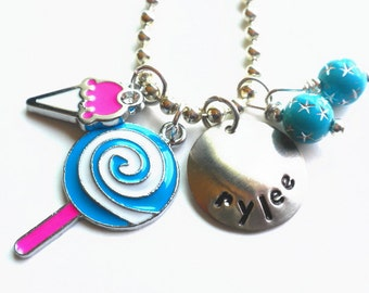 Hand Stamped ICE CREAM and LOLLIPOP  Personalized Charm Necklace for Girls #sw82