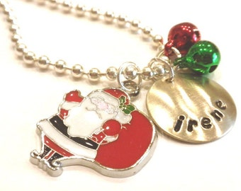 Christmas Jewelry Hand Stamped Necklace Personalized SANTA and BELLS Charm  for Children