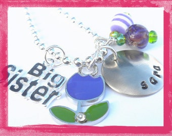 Big Sister or Little Sister  Necklace - Hand Stamped Charm Necklace  - Tulips #SiS82