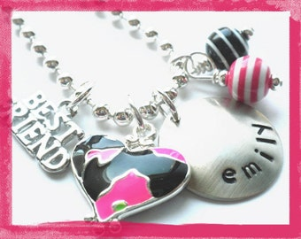 Best Friend Necklace - Hand Stamped Personalized BFF Charm Necklace #sis86