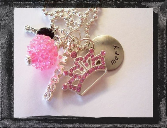 Custom Hand Stamped Personalized Pink Princess Charmer