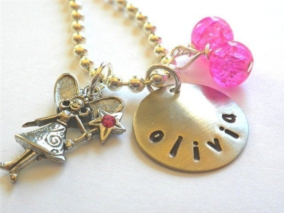 Fairy Necklace Hand Stamped Personalized FAIRY WITH A WAND Charm Necklace for Children
