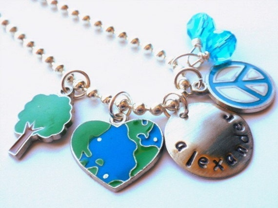 Hand Stamped Personalized PEACE ON EARTH Charmer for Children