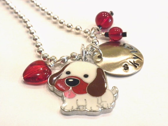 Puppy Love Necklace -  Hand Stamped Personalized Charm Necklace for Children