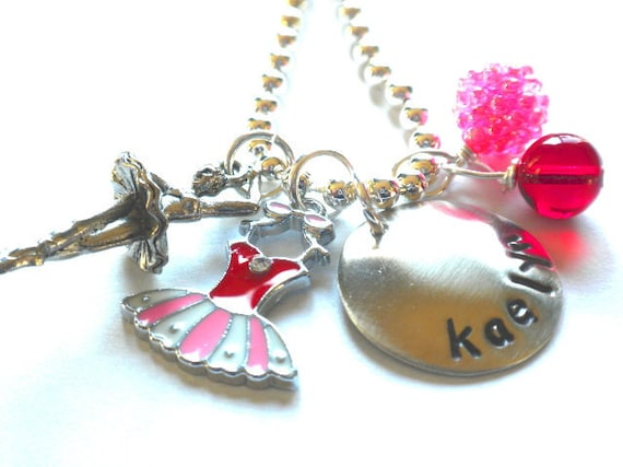 Ballet Necklace - Hand Stamped Necklace -  Personalized Necklace  BUBBLEGUM Ballerina Necklace for Children
