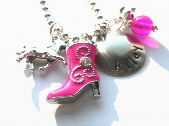 Cowgirl Hand Stamped  Pink BOOT HORSE Necklace