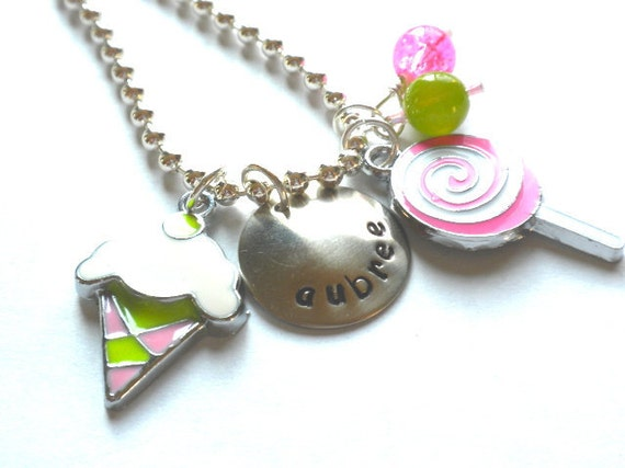 Hand Stamped Charm Necklace SWEETS Personalized Charm Charm Necklace