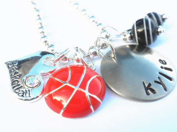 Basketball Personalized Necklace -Hand Stamped Charm Necklace for Children