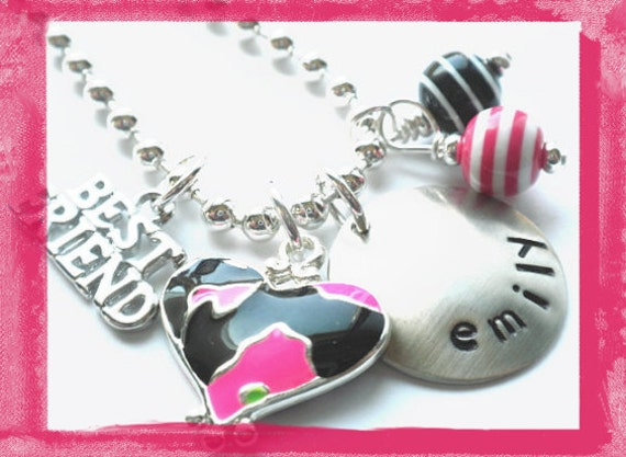 Best Friend Necklace - Hand Stamped Personalized BFF Charm Necklace