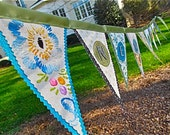 Happy New Year Flag Banner, fun and fancy with sparkles and vintage cloth, ready to ship or custom