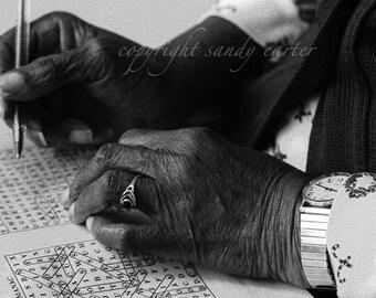 Fine Art Photograph - Hands Doing Word Game