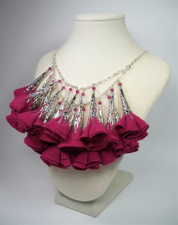 Pretty in PInk Fabric Flower Necklace
