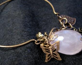 Rose Quartz and Spring Charm Bangle Bracelet