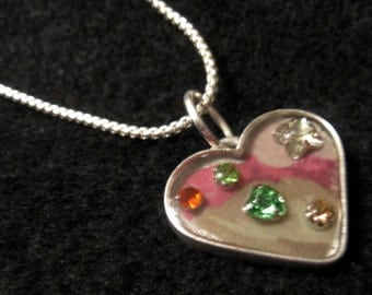 Springtime Resin Heart Pendant Necklace