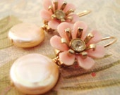 Pink Chic Floral Earrings - dainty pink vintage flowers, light pink freshwater pearls, 14k gold filled - ((Louise Earrings))
