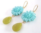 Upcycled Vintage Earrings, Vintage Carved Flowers, Faceted Olive Jade, 14k Gold Filled - Whimsical Shabby Chic ((Thelma Earrings))