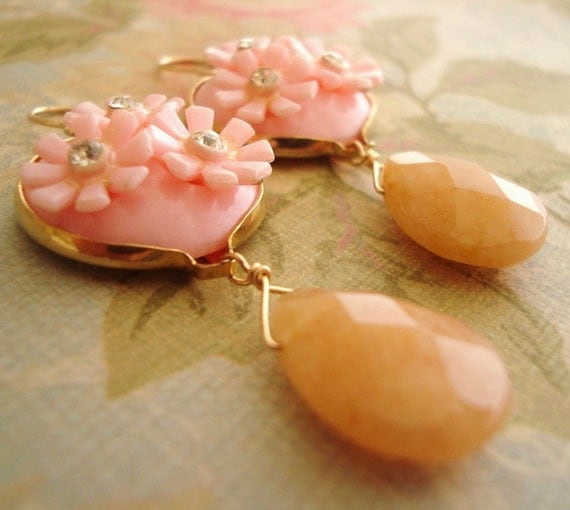 Vintage Pink Daisy Motif with Yellow Jade, 14k Gold Filled Findings - Upcycled Glamour ((Shirley Earrings))