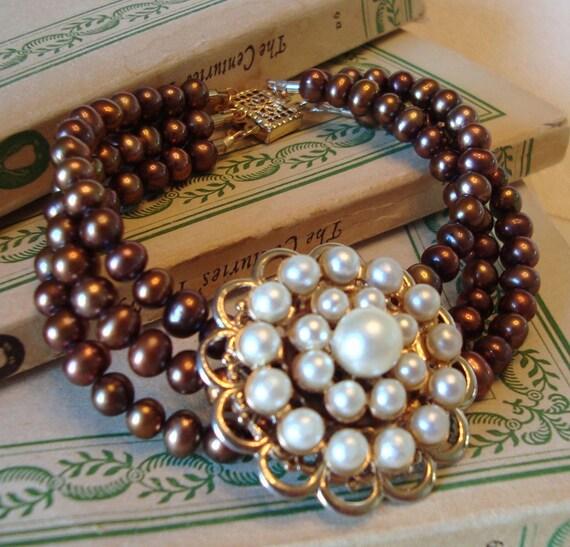 3-Strand Bracelet - Vintage Pearl Brooch, Bronze Freshwater Pearls, 14k Gold Fill - ((Mae Bracelet))