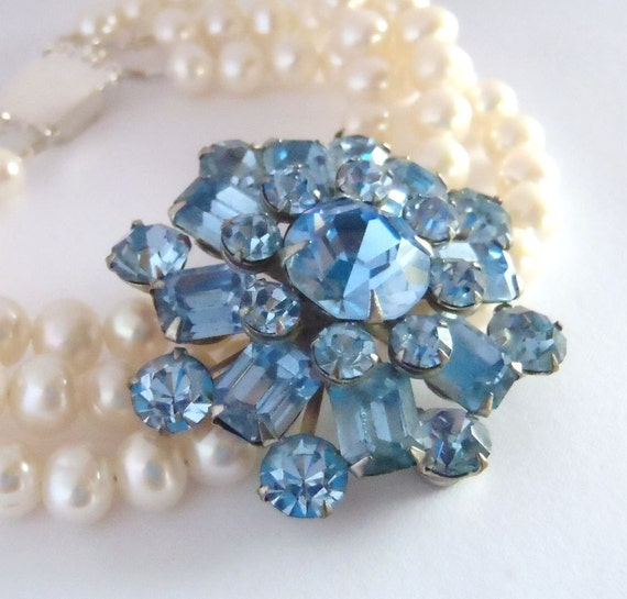Bridal Statement Bracelet - Blue Vintage Rhinestones, Freshwater Pearls, Sterling Silver - Wedding Bracelet, Bridal Jewelry ((Mae Bracelet))