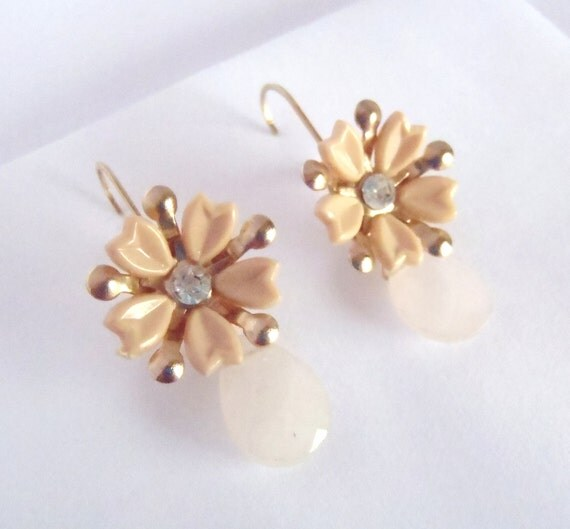 Upcycled Vintage Earrings - Soft Nude Flowers, Faceted Rose Quartz, 14k Gold Filled - Mod Shabby Chic  ((Greta Earrings))
