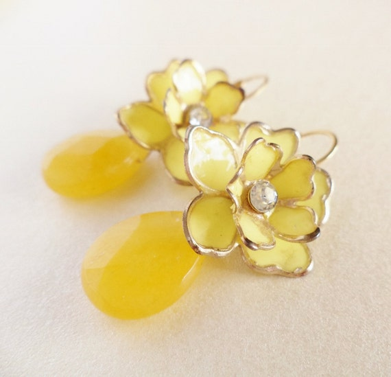 Floral Yellow Earrings - Vintage Lemon Flowers, Yellow Jade Gemstones, 14k Gold Filled - ((Clara Earrings))