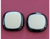 Fused Glass Cabochons handmade 2 pieces x Ivory on Black  21 mm