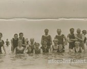 Photographic Postcard Vintage Swimming at the Ocean