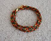Red, Green & Gold Satin Friendship Bracelet