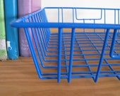 Vintage Modern Coated Wire Basket in blue for organizing your desk